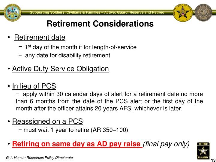 Retirement date