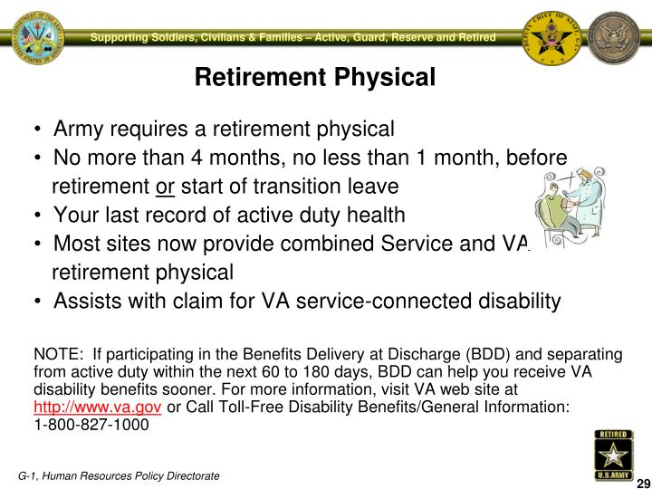 Army requires a retirement physical