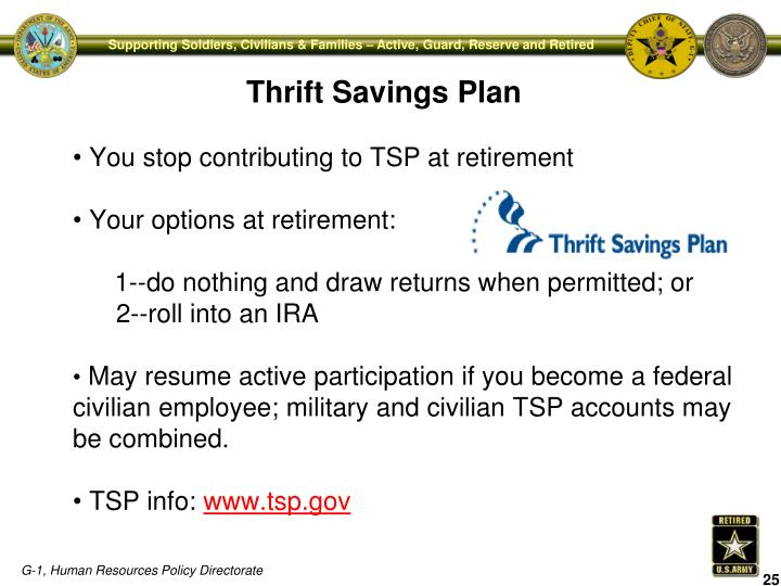 You stop contributing to TSP at retirement