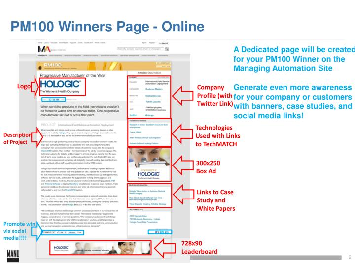 Pm100 winners page online