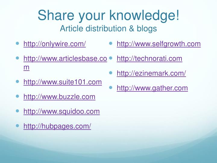 Share your knowledge!