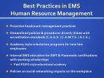 best practices in ems human resource management