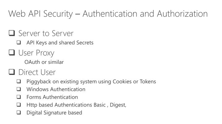 Web API Security – Authentication and Authorization