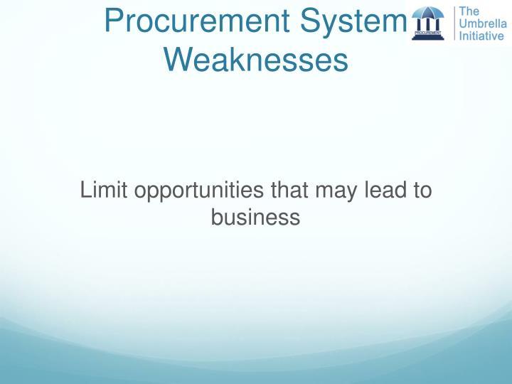 Procurement System Weaknesses