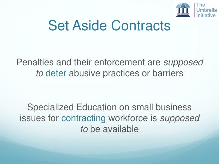 Set Aside Contracts