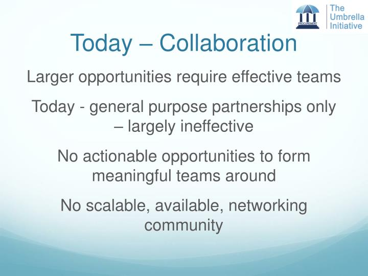 Today – Collaboration