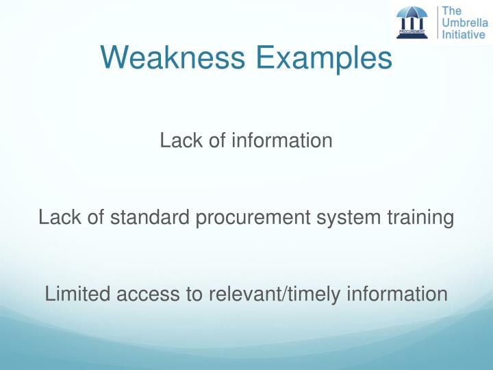 Weakness Examples