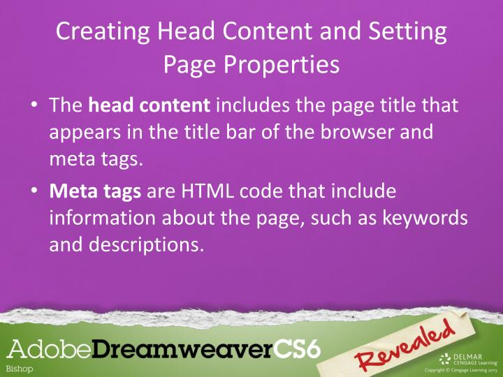 Creating head content and setting page properties1