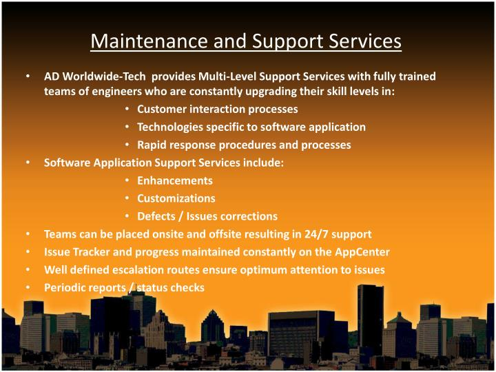 Maintenance and Support Services