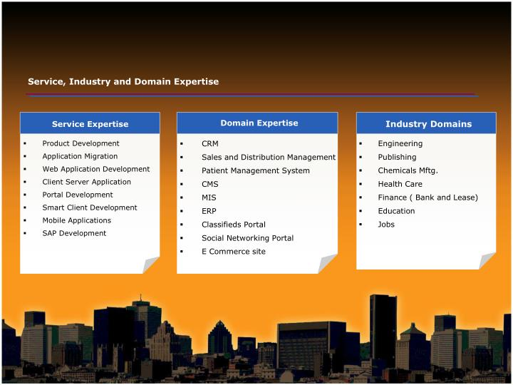 Service, Industry and Domain Expertise