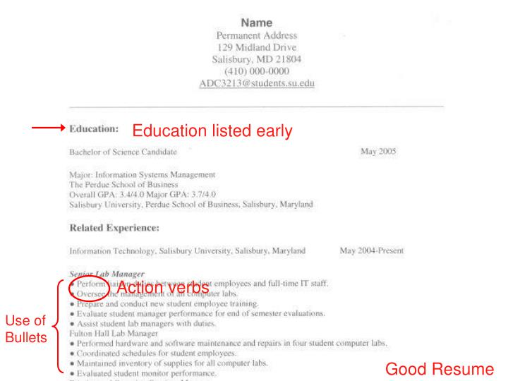Education listed early