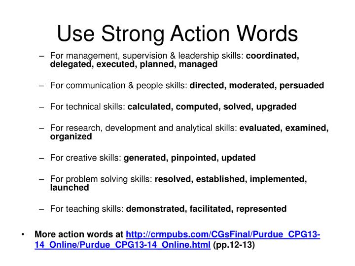 Use Strong Action Words