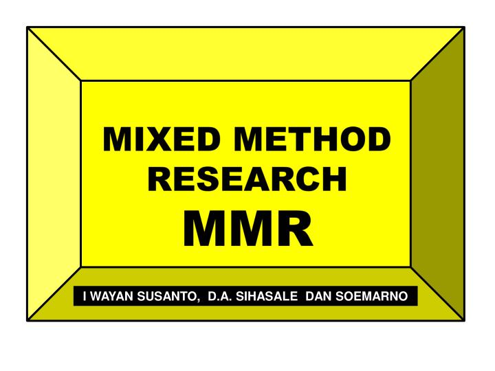 mixed method research mmr n.
