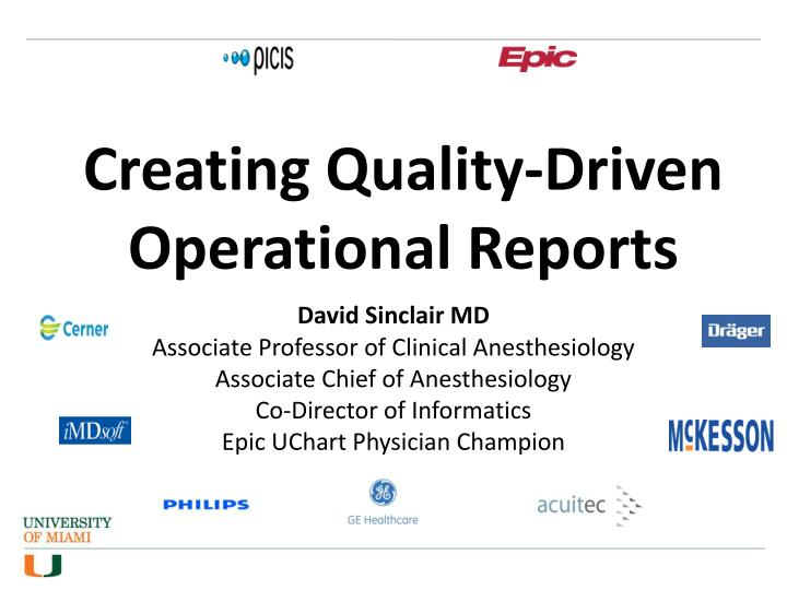 creating quality driven operational reports n.