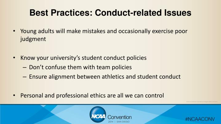 Best Practices: Conduct-related Issues