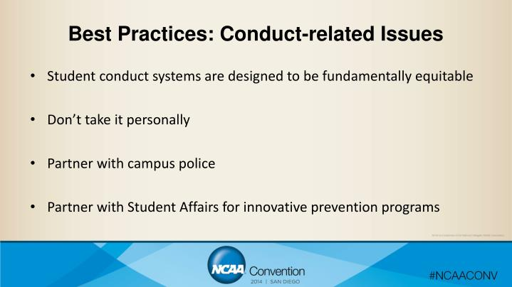 Best Practices: Conduct-related