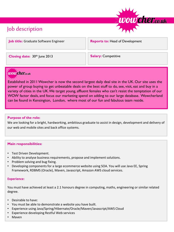 PPT - Job title: Graduate Software Engineer PowerPoint
