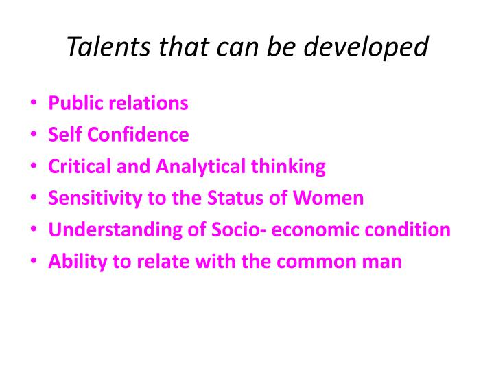 Talents that can be developed