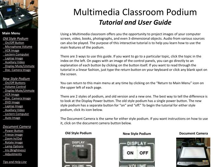 multimedia classroom podium tutorial and user guide n.
