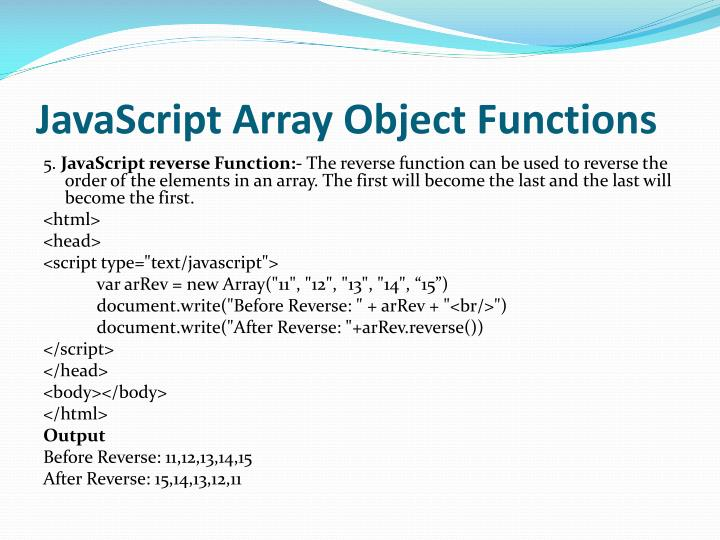 JavaScript Array Object Functions