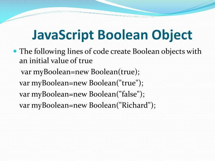 JavaScript Boolean Object