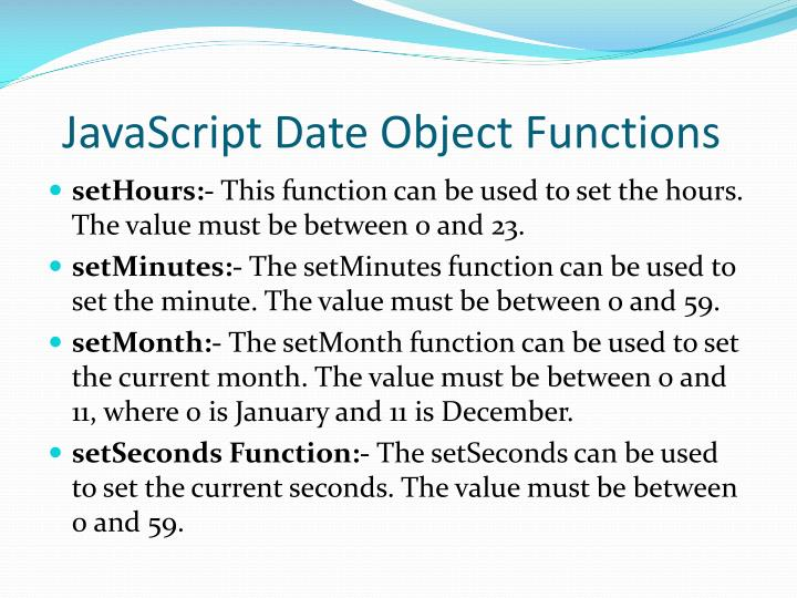 JavaScript Date Object Functions
