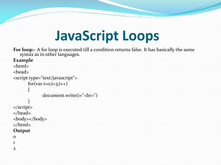 JavaScript Loops