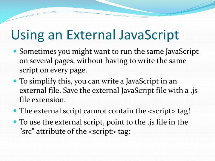 Using an External JavaScript