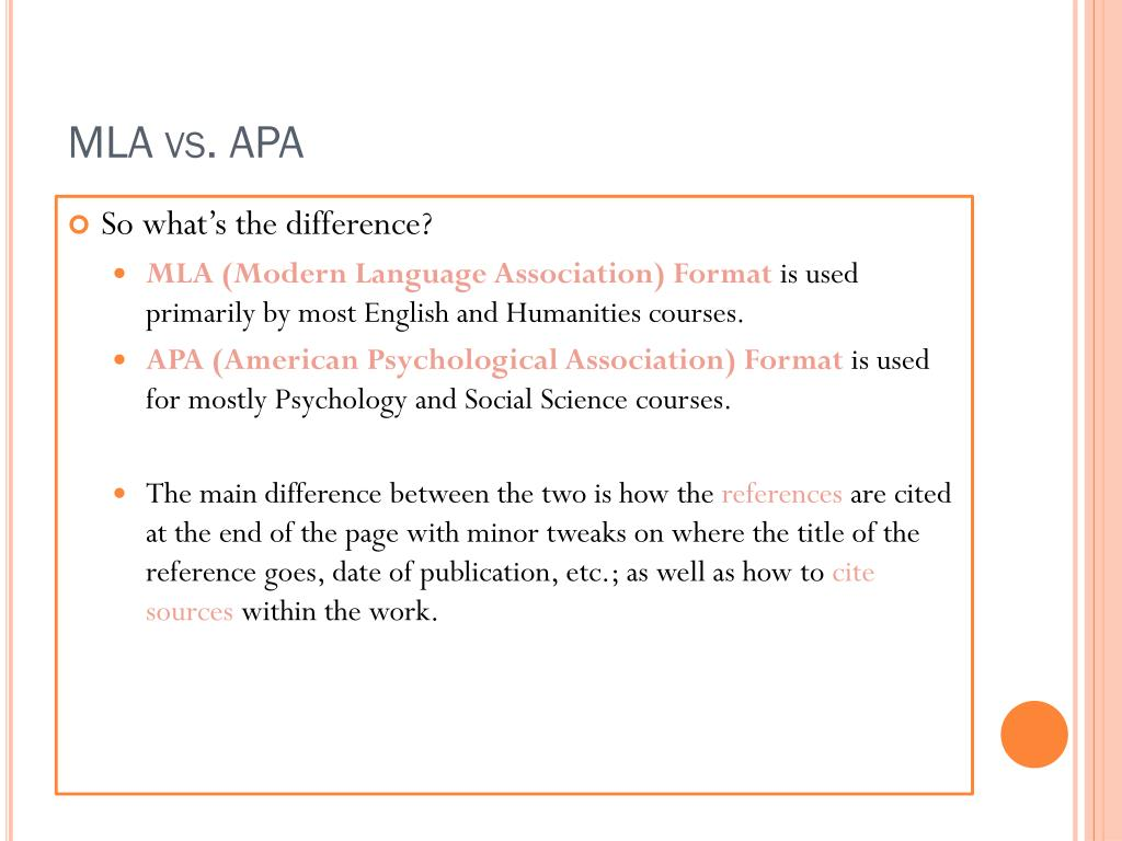 mla and apa formats