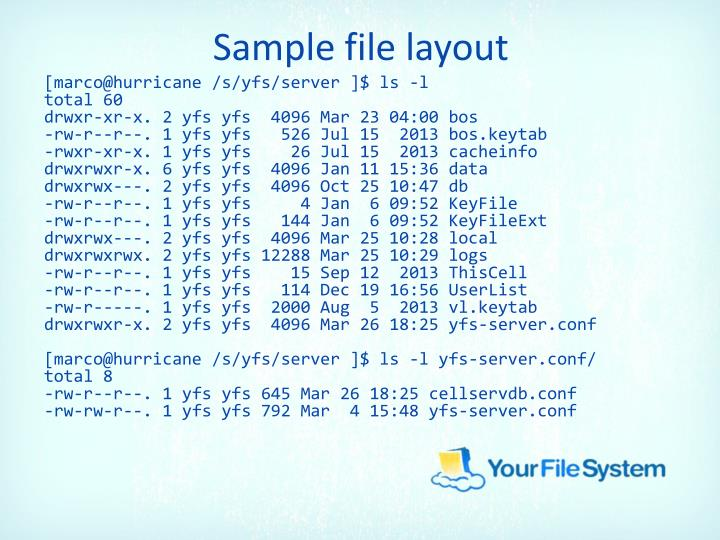 Sample file layout