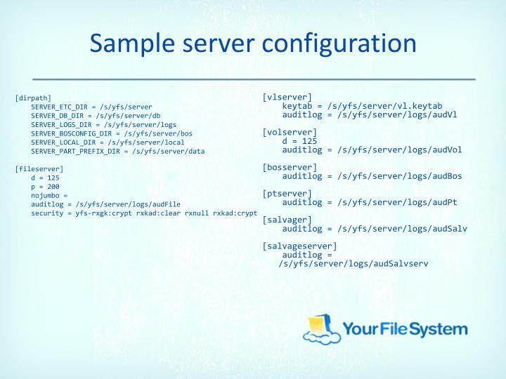 Sample server configuration