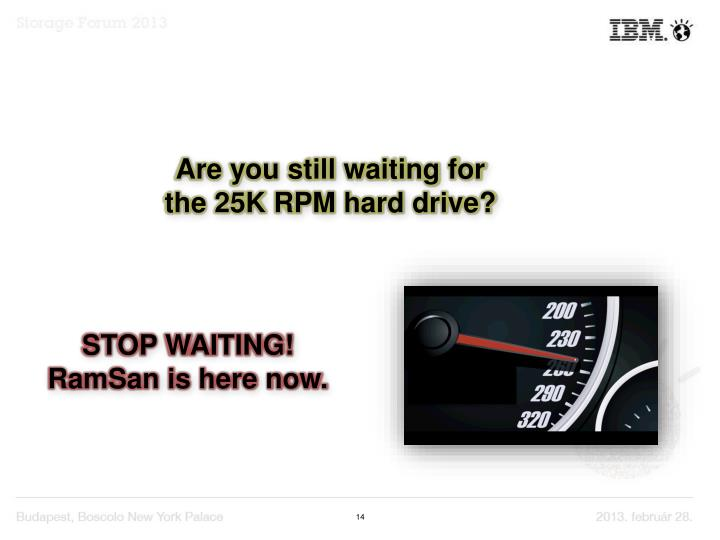 Are you still waiting for the 25K RPM hard drive?