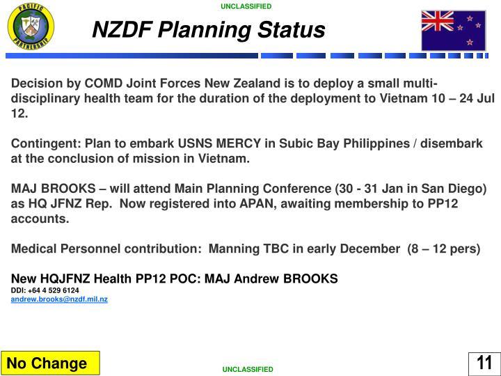 NZDF Planning Status