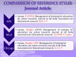 comparision of reference styles