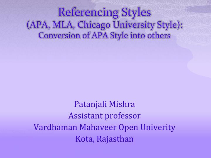 referencing styles apa mla chicago university style conversion of apa style into others