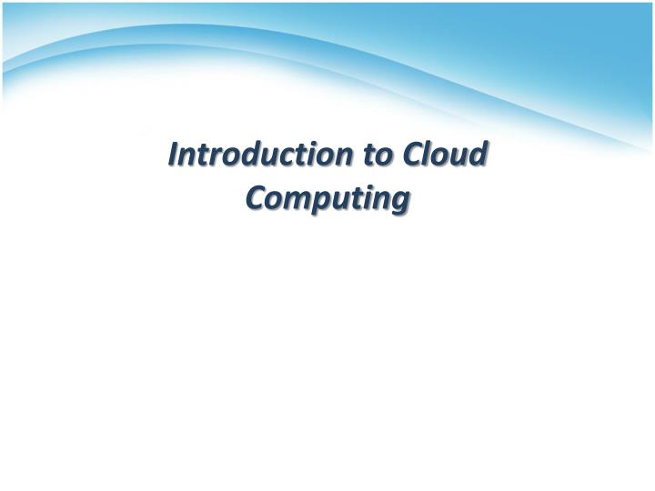 introduction to cloud computing n.