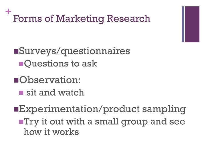 Forms of Marketing Research