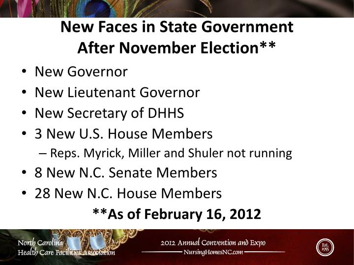 New Faces in State Government