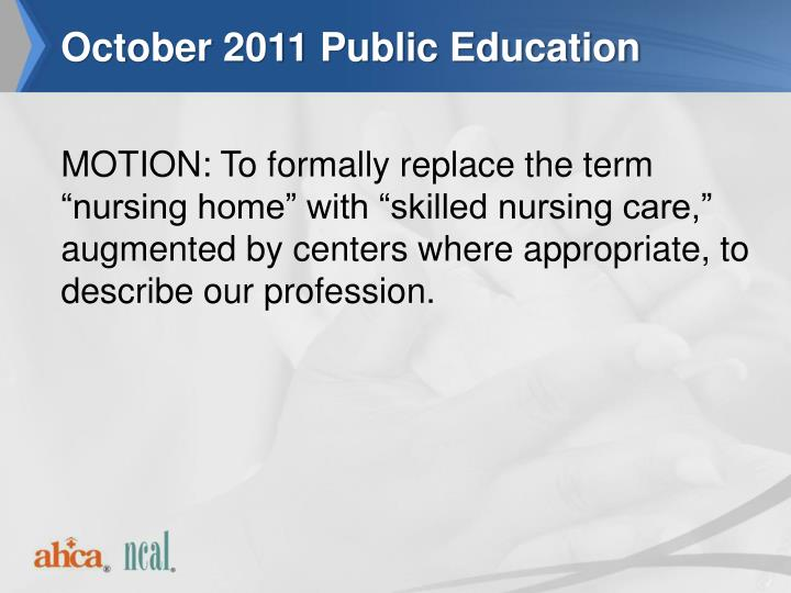October 2011 Public Education
