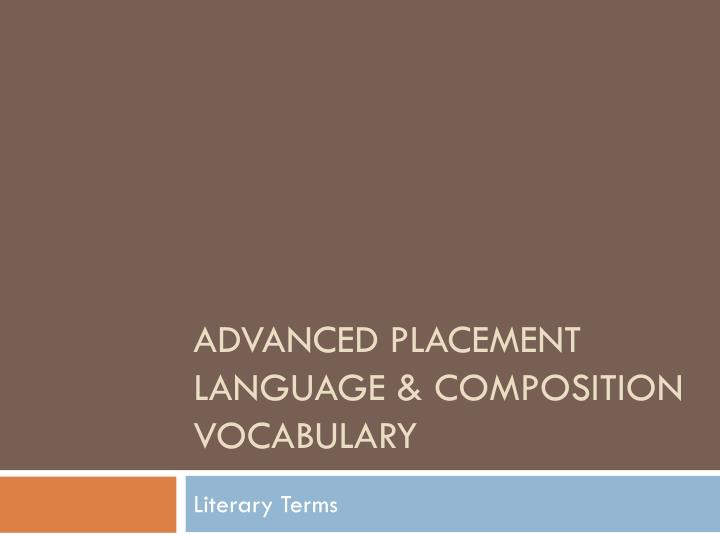 advanced placement language composition vocabulary n.