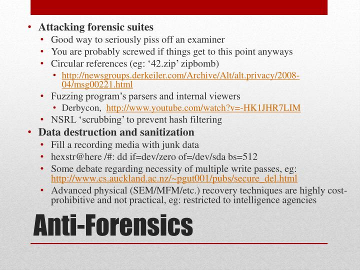 Attacking forensic suites