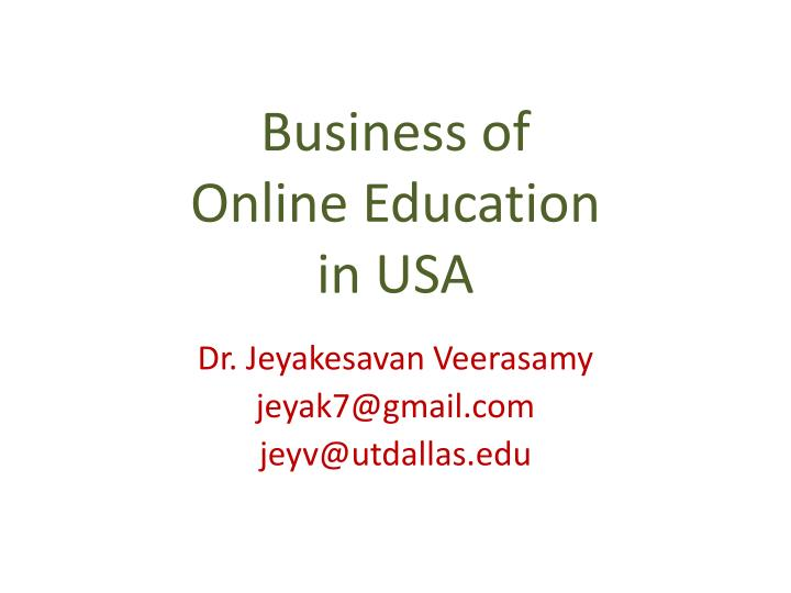 business of online education in usa n.