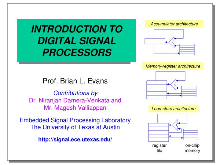 introduction to digital signal processors n.