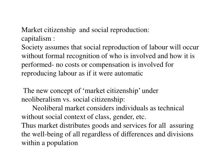 Market citizenship  and social
