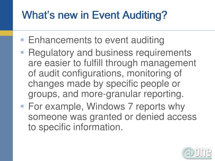 What's new in Event Auditing?