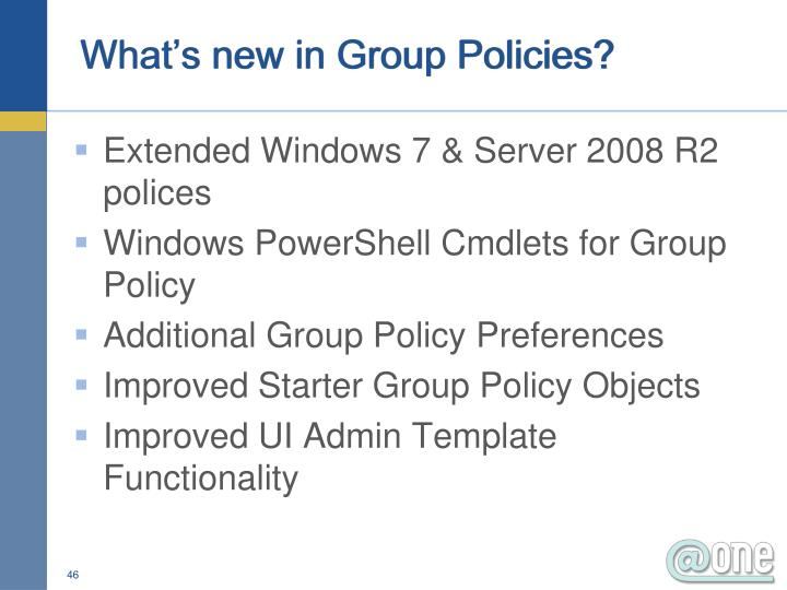 What's new in Group Policies?