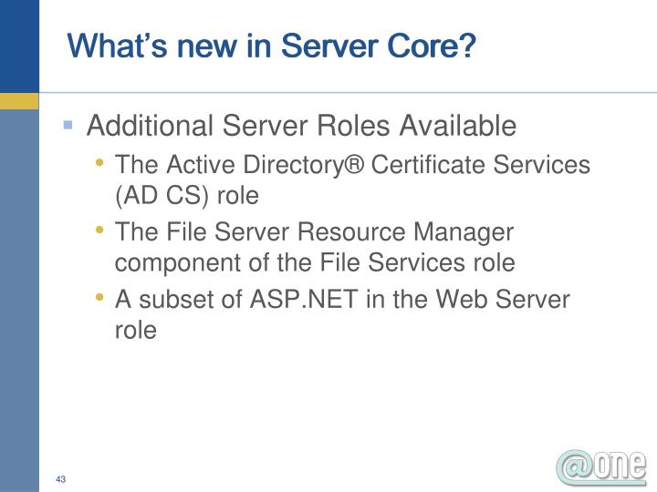 What's new in Server Core?