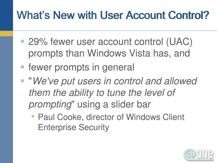 What's New with User Account Control?