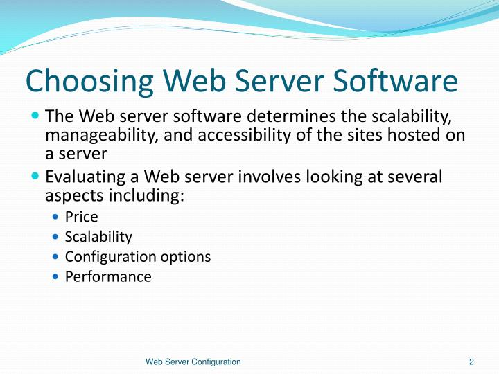 Choosing web server software