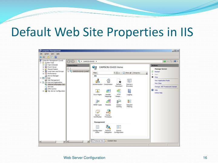 Default Web Site Properties in IIS